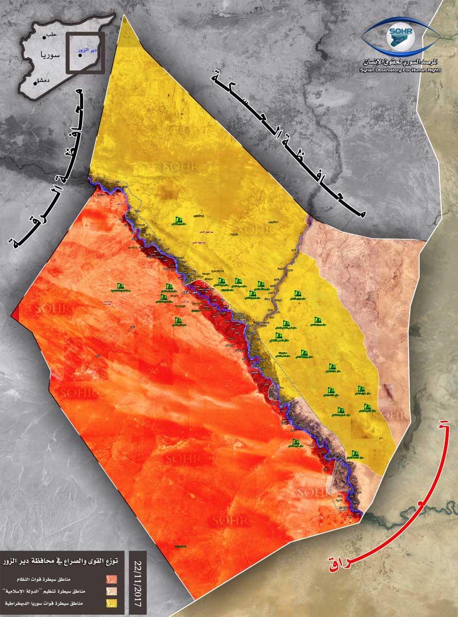 Карта расстановки сил Дейр-аз-Зор, Сирия