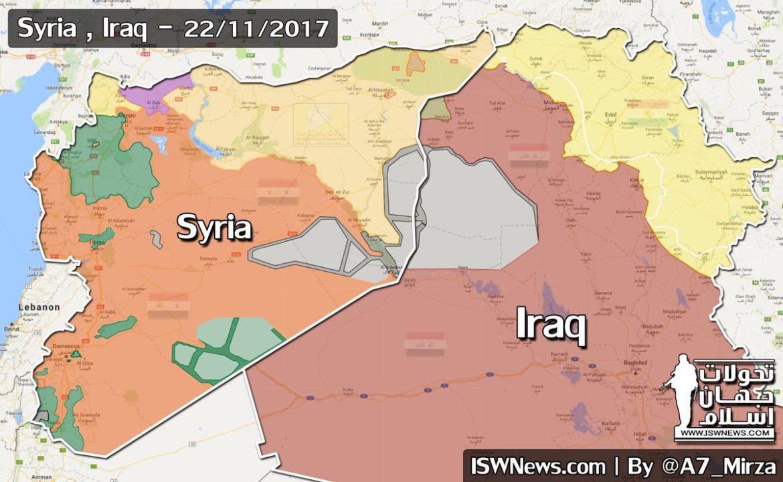 Карта расстановка сил на территории Ирака и Сирии, ноябрь 2017 года