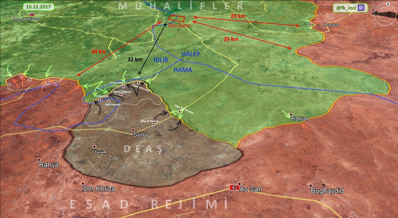 Несколько сот км., и до 2 000 боевиков в провинции Хама. По всей видимости этот карман акт совместной работы ИГ и разведки Асада