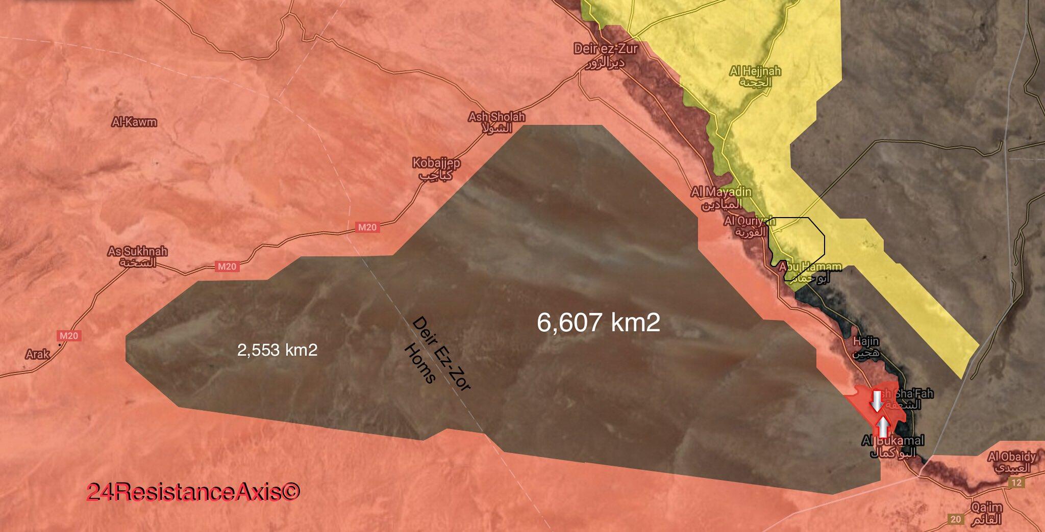 Всего каких то 6 000 км 2, под контролем боевиков, провинция Дейр-аз-Зор, граница с Иракам