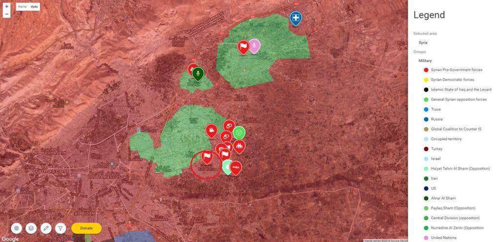 Восточная Гута, карта по состоянию на 18.03.2018
